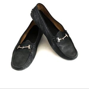Tod's Shoes - {TODS} Black Suede Driving Mocs Silver Hardware